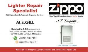 M.S.Gill Kedai Repair Lighters Zippo & Fountain Pens